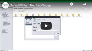 Sage 300 Item Number Change VIDEO